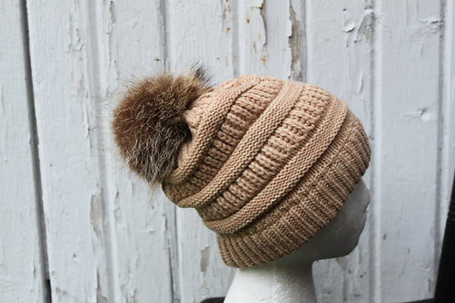 Camel, knit hat with Coon pompom