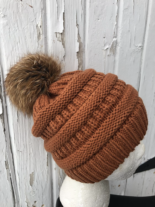 Rust knit hat with Red Fox pompom