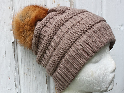 Taupe, Knit hat with Fox Pompom