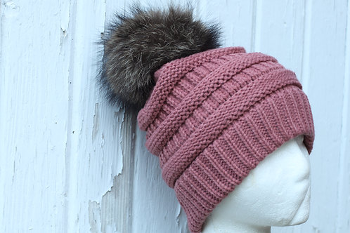Mauve, Knit Hat with Raccoon Pompom