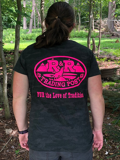 Storm camo, pink R and R Trading Post logo front and back.