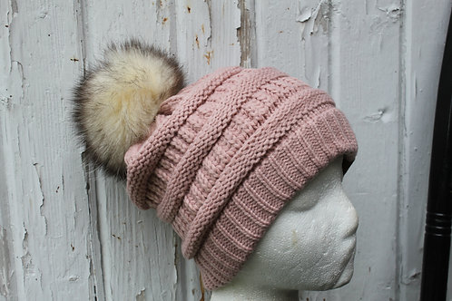 Rose, Knit hat with Opossum Pompom