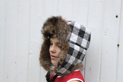 Trooper style hat quilted with fur ear flaps and forhead