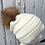Thumbnail: Ivory knit hat with Red Fox pompom
