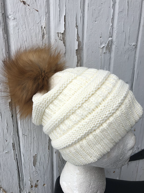 Ivory knit hat with Red Fox pompom