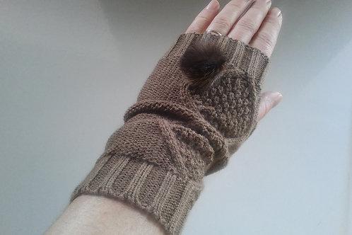 brown fingerless mittens