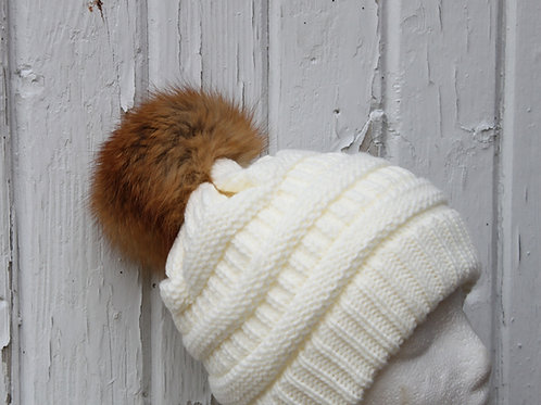 Ivory, knit hat with fox pompom