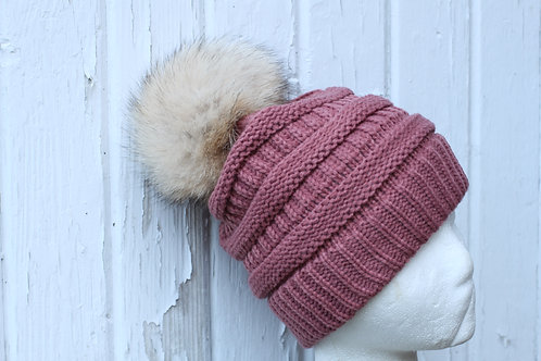 Mauve, knit hat with Coyote pompom