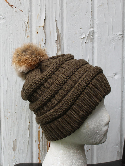New Olive Green, Knit hat with Silver Fox pompom