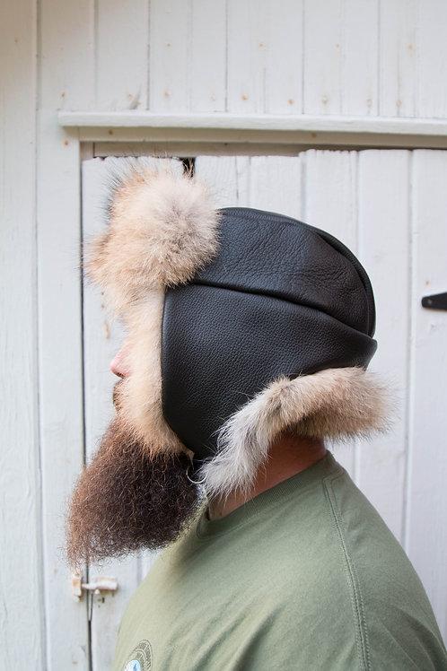 genuine leather aviator hat