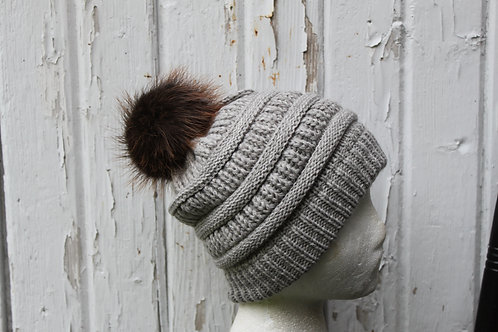 Gray, knit hat with Beaver pompom