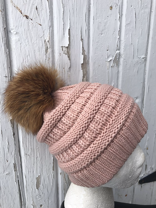 Indi Pink knit hat with Red Fox pompom