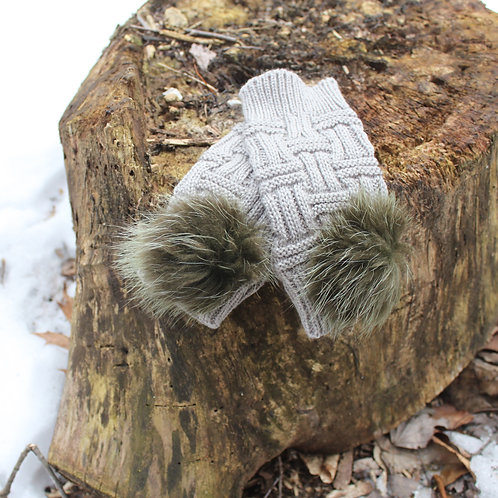 Gray finger less mittens green Raccoon Pompoms