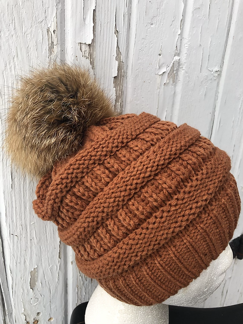 Rust, knit hat with Red Fox Pompom