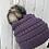 Thumbnail: Violet, Knit hat with Opossum Pompom
