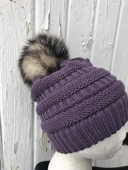 Violet, Knit hat with Opossum Pompom