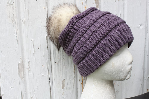 Violet, Knit hat with Opossum Pompom