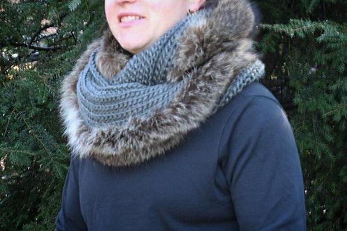 Gray infinity scarf with raccoon embellishment