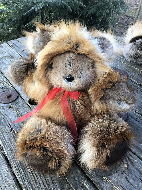 Fox/ Muskrat Fur Teddy Bear