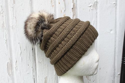 Olive, Knit hat with Opossum Pompom