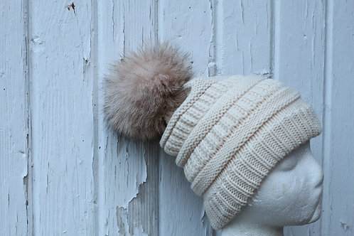 Beige, knit hat with coyote Pompom