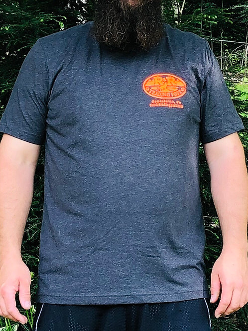 Charcoal,R and R Trading Post light weight tee shirts. Orange logo front and bac
