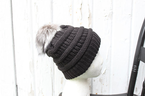 Black, Knit hat with Silver Fox pompom