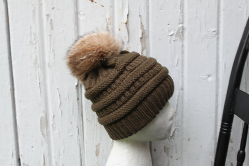 Olive Green, knit hat with Coyote Pompom