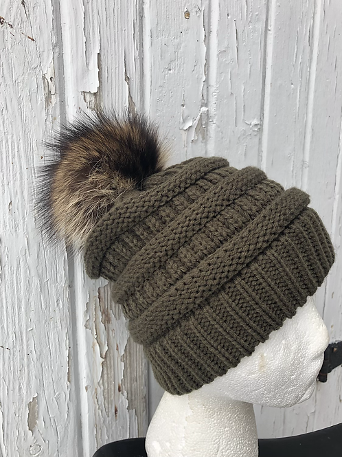 New Olive Green, Knit hat with Raccoon pompom