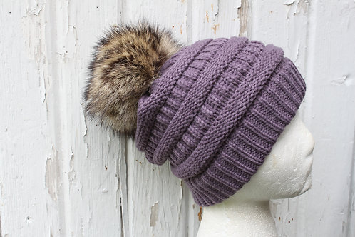 Violet, Knit hat with Racoon Pompom