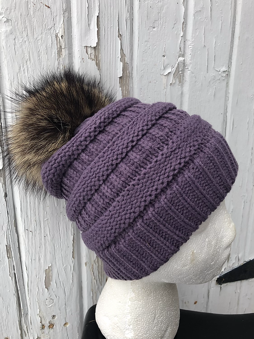 Violet, Knit hat with Raccoon pompom