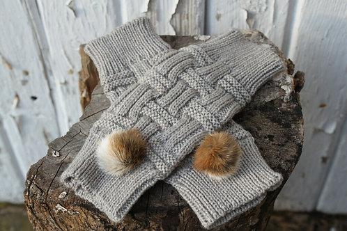 Fingerless mittens  fox pompoms