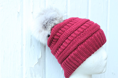 Burgundy, knit hat with coyote pompom