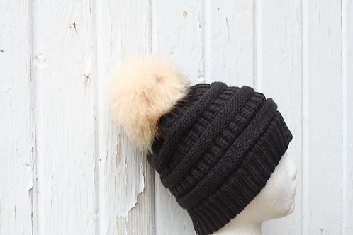 Black, knit hat with Coyote pompom