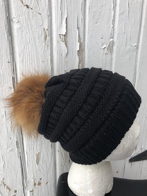 Black knit hat with Red Fox Pompom