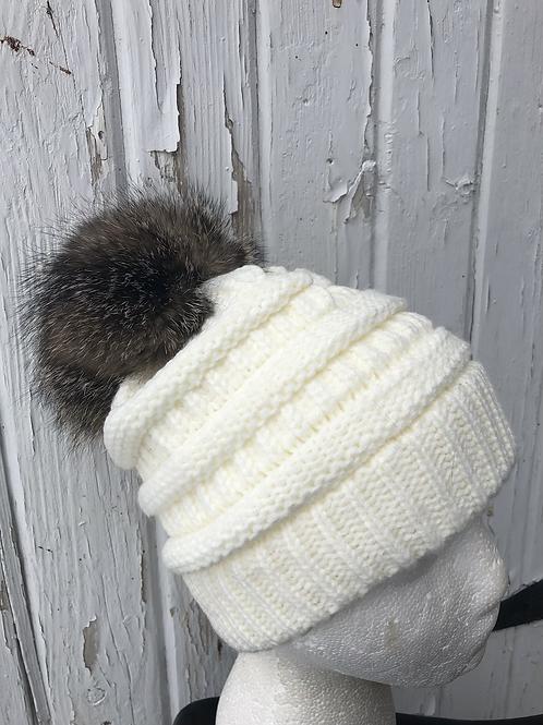 Ivory, Knit hat with Gray Fox Pompom