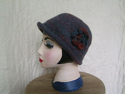 blue/terracotta felted hat