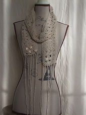 raw silk beaded crocheted scarf