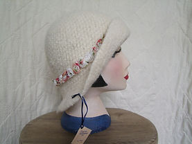 cream felted hat with ribbon flower trim