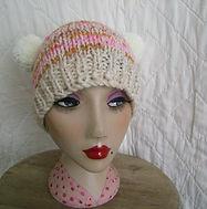 2 pompom cream_mustard_pink hat