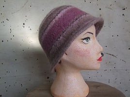 pink_lilac stripes felted hat