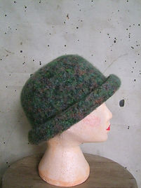 turquoise_rust_black marl felted hat