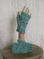 sea green little star fingerless gloves