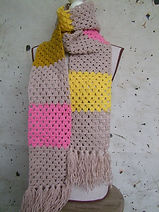 pastels crocheted retro scarf