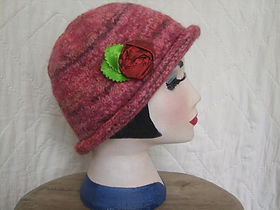 red marl felted hat with silk flower trim