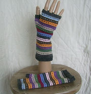 dot and tripe fingerless mitts