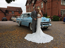 Blue wedding car