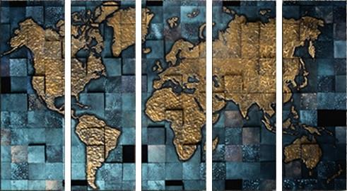 Map Of The World Extra Large Framed Split Canvas Print - Extra large framed world map