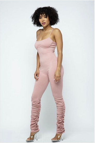 Bustier line bottom shrring jumpsuit w/mask