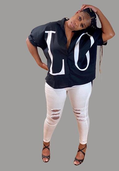 Love Print Loose Fit Short Sleeve Shirt